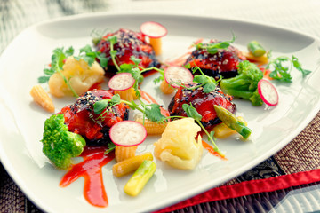 Creative vegetable appetizer, close-up, toned
