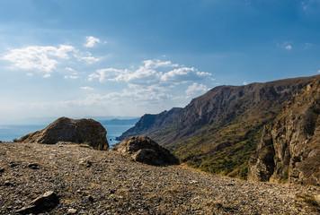 Crimea, summer, Cape Megan, view from the top, coastline, blue sky, clouds
