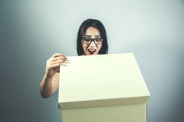 woman hand box