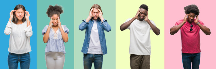 Composition of african american, hispanic and chinese group of people over vintage color background with hand on head for pain in head because stress. Suffering migraine.