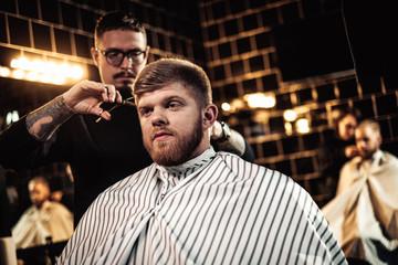 Client in barber shop
