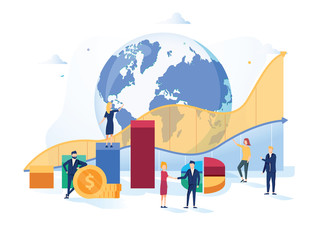 Stock market vector illustration. Flat mini money growth persons concept with positive and successful indicators global