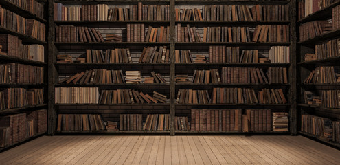 Bookshelves in the library with old books 3d render 3d illustration Fototapete