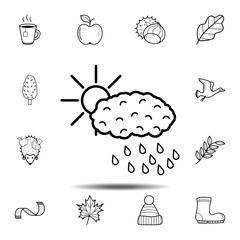 Sun over cloud with rain icon. Simple outline vector element of Autumn icons set for UI and UX, website or mobile application