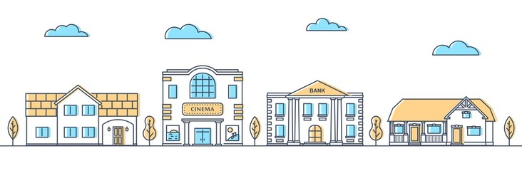 Street with different houses. Cottages and public buildings in a row. Suburban road. Apartment buildings and trees. Vector illustration.