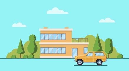 Living house with trees and bushes. Cottage with car  in the flat style. Real estate concept. Neighborhood with cityscape background. Vector illustration.