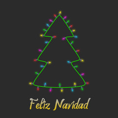 Colorful Christmas tree made of light bulb garland new year greeting card background. Feliz navidad