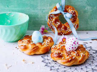Sweet Easter bread with easter decoration