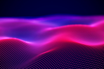 Abstract landscape of Neon digital particles or sound waves. Big data technology background. Visualization of sound waves. Virtual reality concept: 3D digital surface. EPS 10 vector illustration.
