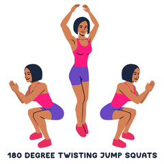 180 degree twisting jump squats. Sport exersice. Silhouettes of woman doing exercise. Workout, training.
