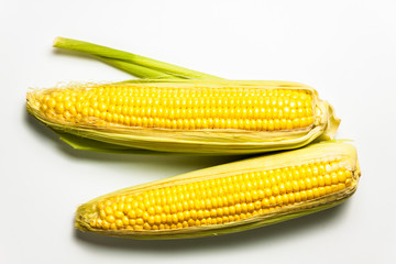 Corn isolated on white background, with shadow