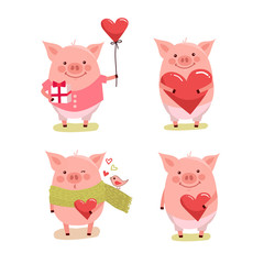 set of cute cartoon valentines pigs with hearts