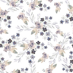 Watercolor seamless pattern with delicate flowers.