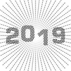 Cartoon vector cute 2019 year illustration. Sketchy with new year theme items. eps 10