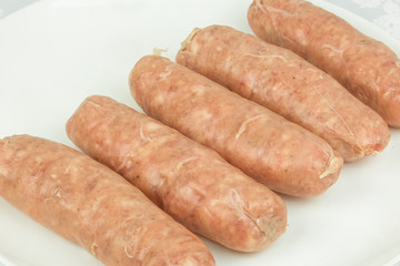 The meat frozen semi-finished for friing sausages
