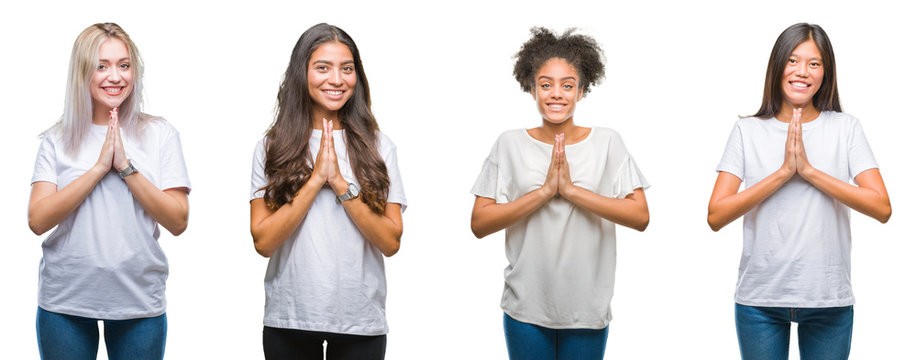 Collage of group of chinese, arab, african american woman over isolated background praying with hands together asking for forgiveness smiling confident.