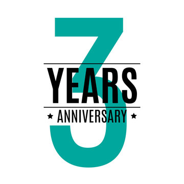 Template Logo 3 Years Anniversary Vector Illustration