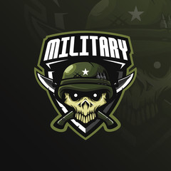skull military mascot logo design vector with modern illustration concept style for badge, emblem and tshirt printing. skull military illustration with knives and badges.