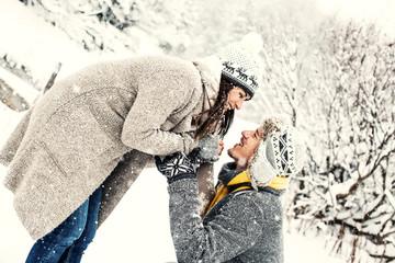 happy love couple in wintertime