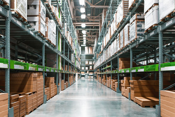 Rows Of Shelves With Boxes In Warehouse