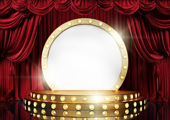 Theater stage with red velvet curtains and golden decorative scene. 3d illustration