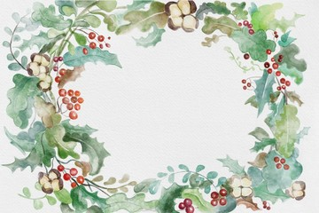 Christmas holidays watercolor winter plants, leaves, flowers and berries wreath with space for text in center