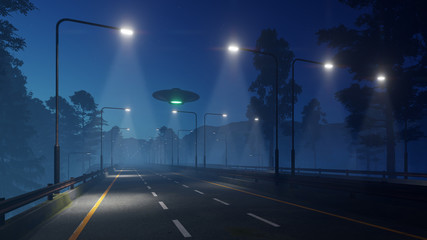 3d Ufo at night above the highway with lanterns