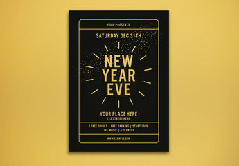 New Year's Party Flyer Layout with Abstract Fireworks Illustrations