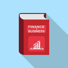 book with the words Finance and business, imitation of 3D volume, long shadow