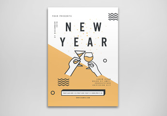 New Year's Party Flyer Layout with Celebration Toast Illustrations