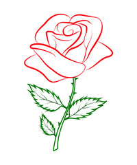 simple colored outline of a red rose on a green stalk.