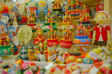 Russian souvenirs at city market in Moscow.