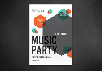 Event Flyer Layout with Hexagonal Elements