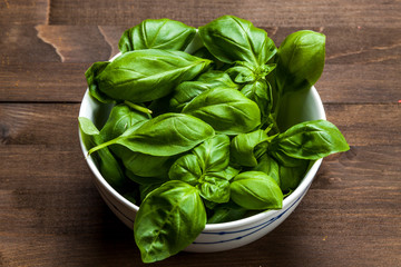 Basil in the pot isolated on wooden background