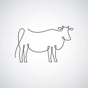 One line cow design silhouette