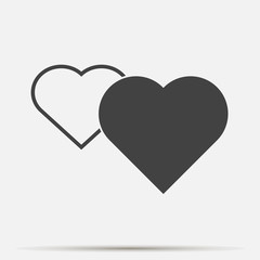 Vector icon red  heart set on gray background.  Layers grouped for easy editing illustration. For your design.