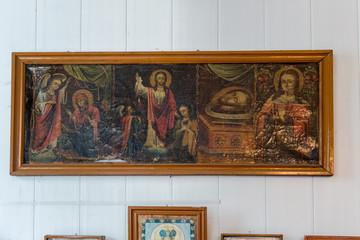 Interior of the Ukrainian Orthodox Church Moscow Patriarchate. Ukraine, Odessa region, Kodyma, 2012, altar, iconostasis. Ancient icons written in a primitive style
