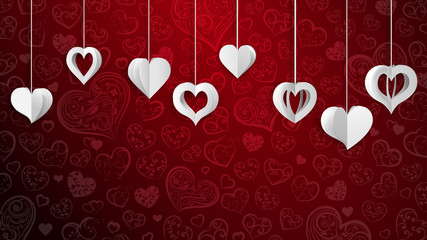 Background with hanging paper volume hearts, white on red