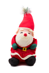 Vintage Santa Claus doll on white background
