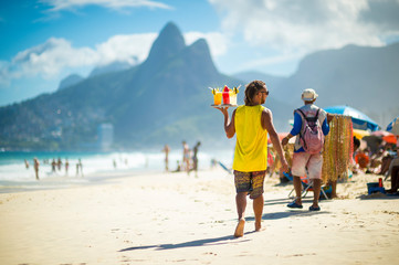 Scenic afternoon view of Ipanema Beach with Two Brothers Mountain in Rio de Janeiro, Brazil
