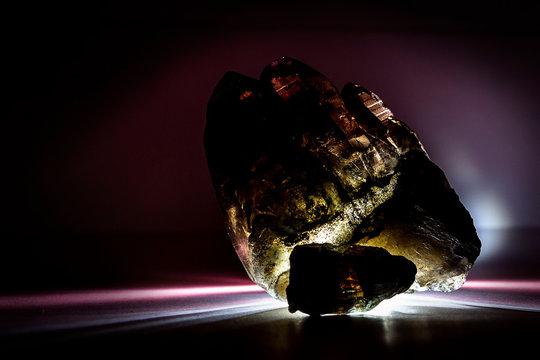 A druse of smoky quartz with epidote, crystal, stone