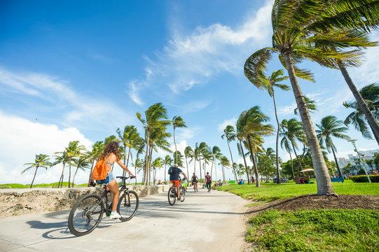Bright scenic morning view of the beachfront promenade in Lummus Park adjacent to historic Ocean Drive in South Beach, Miami, Florida
