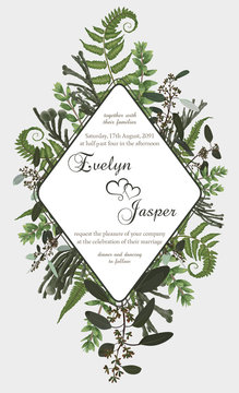 Wedding vertical floral invitation, invite card. Vector watercolor set green forest fern, herbs, brunia, eucalyptus, branches boxwood, buxus. Botanical decorative round frame