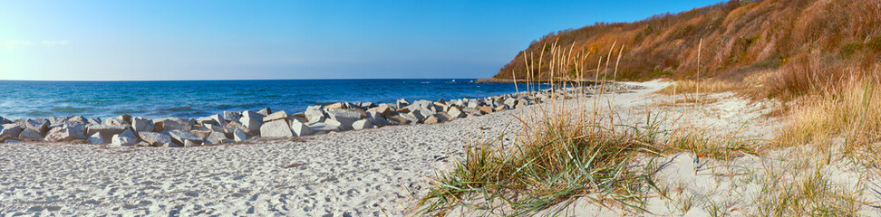 Deserted beach on island Hiddensee in Northern Germany in Autumn, panoramic image