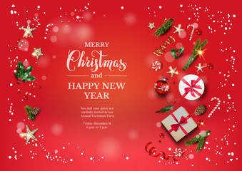 Bright red holiday illustration card with Christmas decorations and balls, stars, gift boxes, fir tree branches on fairy background. Christmas festive template.