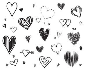 Hand drawn hearts on isolated white background. Set of love signs. Unique illustration for design. Line art creation. Black and white illustration. Elements for poster or flyer
