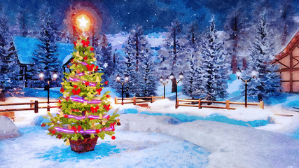 Wall Mural - Decorative landscape in watercolor with Christmas tree decorated by lights garland against snow covered mountain village on background at winter night. Digital art painting.