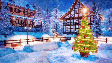 Wall Mural - Decorative landscape in watercolor with outdoor Christmas tree decorated by lights garland on snowbound square of alpine mountain town at winter night. Digital art painting.