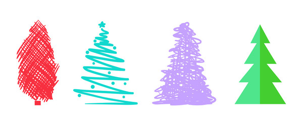 Colorful christmas trees on white. Set for design on isolated background. Geometric art. Objects for polygraphy, posters, t-shirts and textiles. Colored illustration