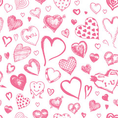 Hearts Seamless pattern. Doodle Valentine. Love symbol. Engraved hand drawn sketch for texture
